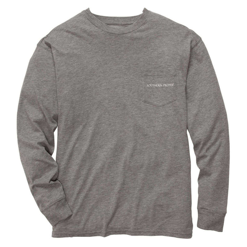 Men's Tee Shirts - Our Roots Long Sleeve Tee In Heather Grey By Southern Proper