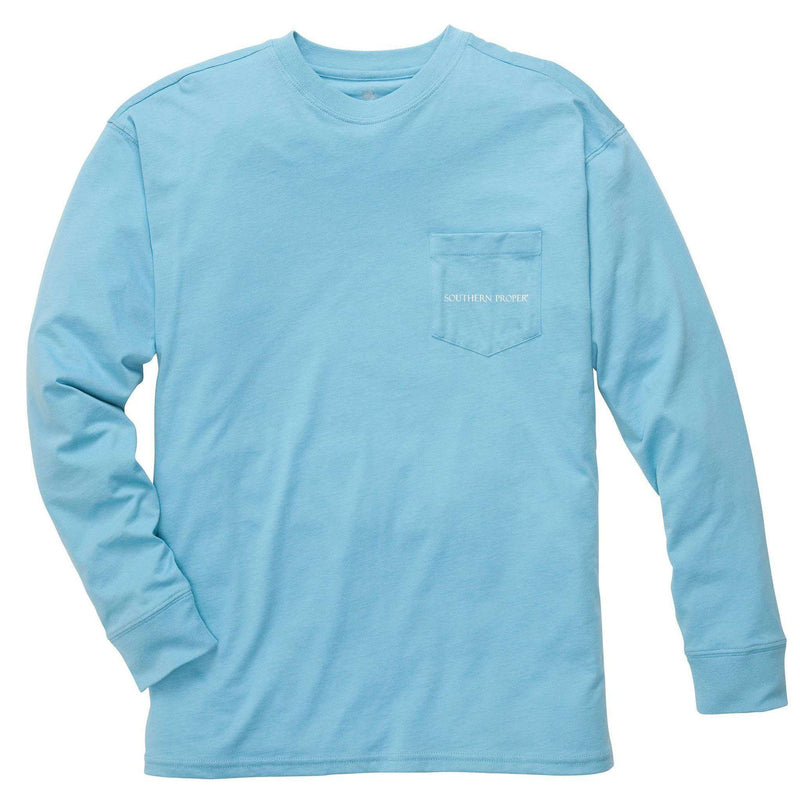 Men's Tee Shirts - Our Roots Long Sleeve Tee In Retro Blue By Southern Proper
