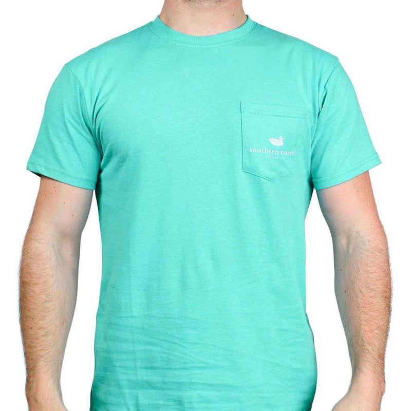 Men's Tee Shirts - Outfitter Series Collection Lure Three Tee In Jockey Green By Southern Marsh