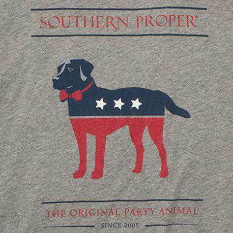 Men's Tee Shirts - Party Animal Long Sleeve Tee In Grey By Southern Proper