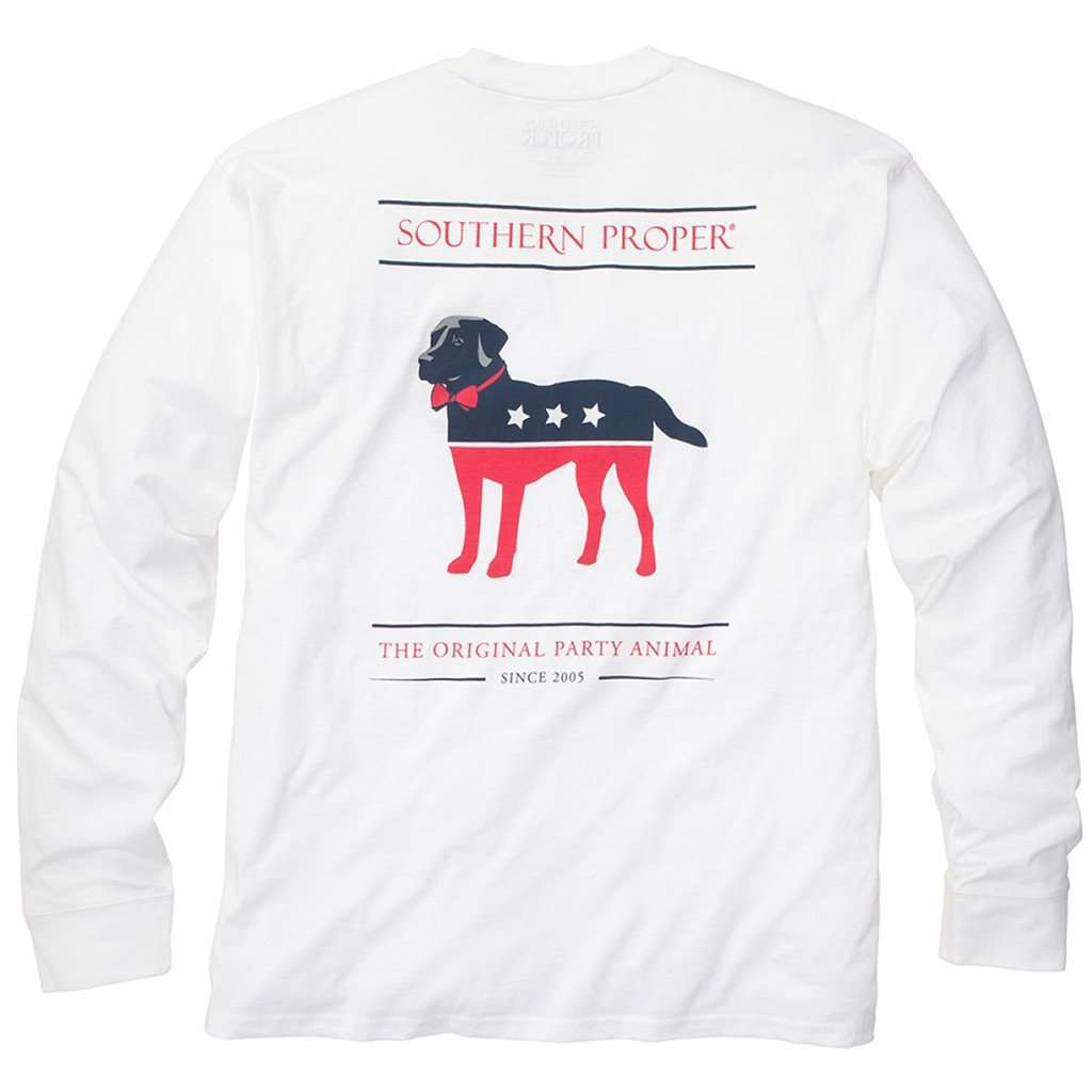 Men's Tee Shirts - Party Animal Long Sleeve Tee In White By Southern Proper