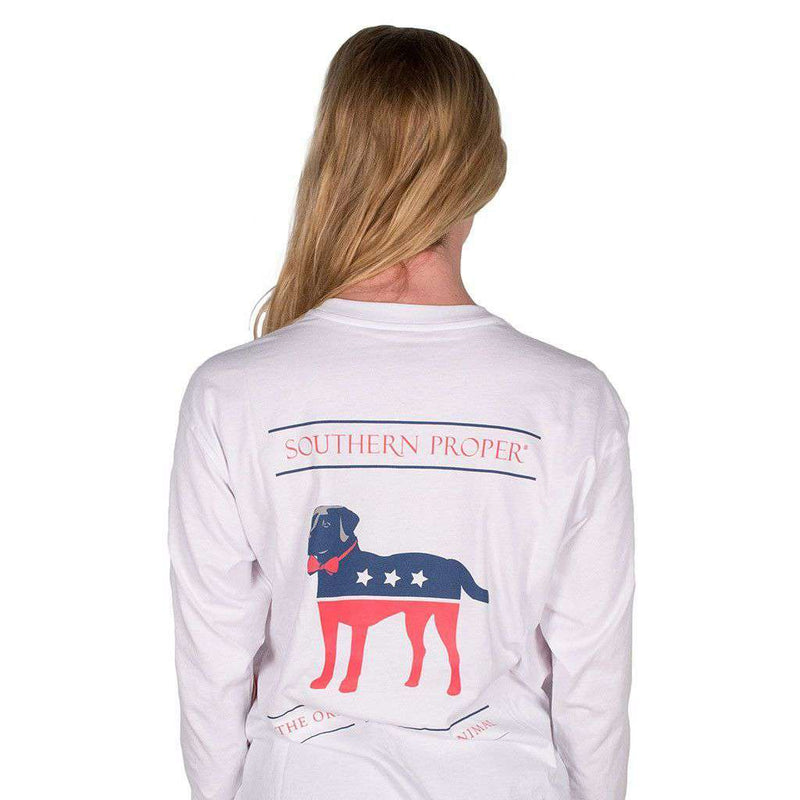Party Animal Long Sleeve Tee in White by Southern Proper