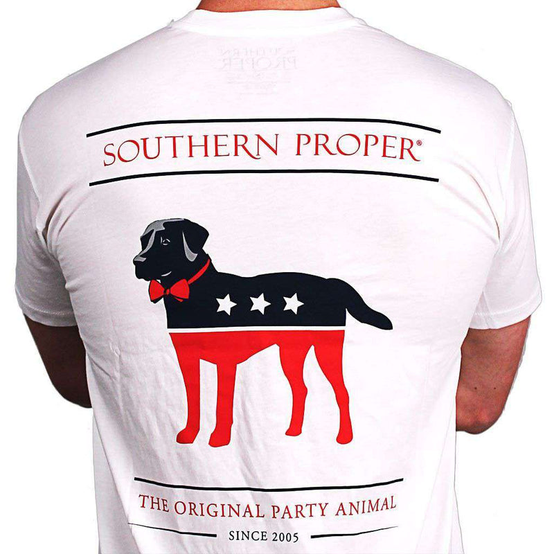 Men's Tee Shirts - Party Animal Tee In White By Southern Proper