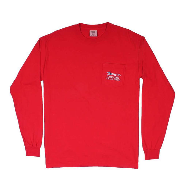 Patriotic Longshanks Long Sleeve Tee Shirt in Red by Country Club Prep