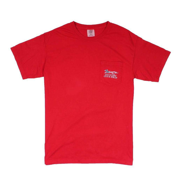 Men's Tee Shirts - Patriotic Longshanks Tee Shirt In Red By Country Club Prep