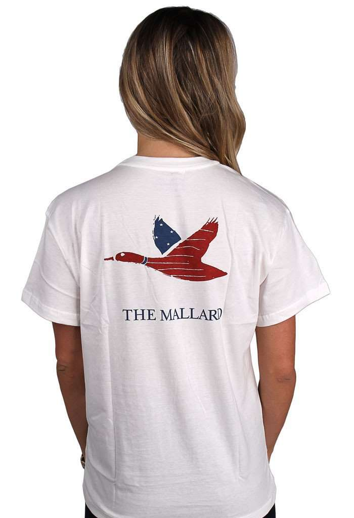 Men's Tee Shirts - Patriotic Mallard Logo Tee In White By The Mallard - FINAL SALE