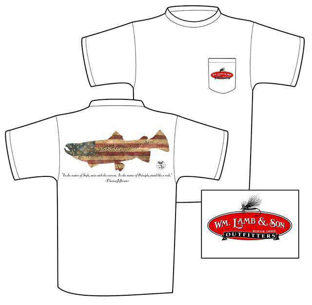Men's Tee Shirts - Patriotic Trout Tee By WM Lamb & Son