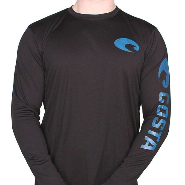 Men's Tee Shirts - Performance Core Long Sleeve T-Shirt In Black By Costa Del Mar