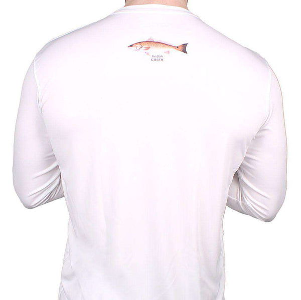 Men's Tee Shirts - Performance Redfish Long Sleeve T-Shirt In White By Costa Del Mar