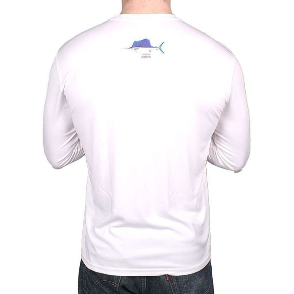 Men's Tee Shirts - Performance Sailfish Long Sleeve T-Shirt In White By Costa Del Mar