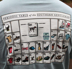 Men's Tee Shirts - Periodic Table Of The Southern Gentlemen In Ocean Grey/Green By Southern Point Co.