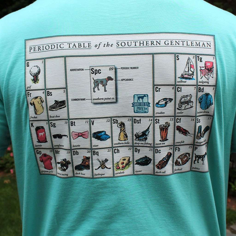 Men's Tee Shirts - Periodic Table Of The Southern Gentlemen In Poolside Blue/Green By Southern Point Co.