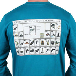 Men's Tee Shirts - Periodic Table Of The Southern Sportsman Long Sleeve In Green/ Blue By Southern Point Co.