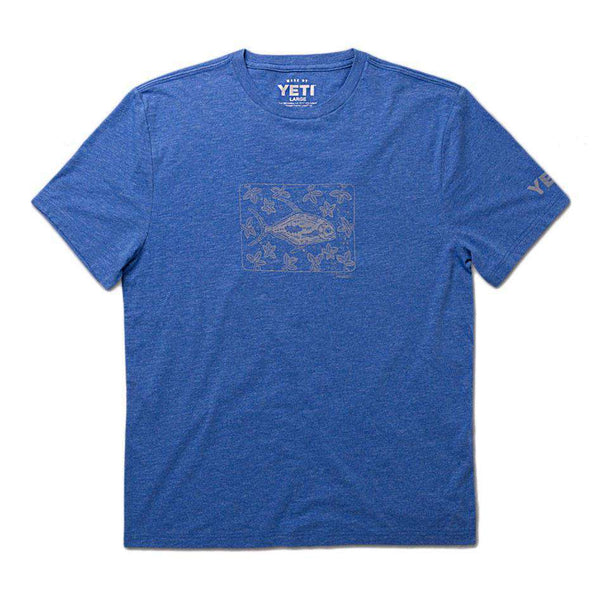 Men's Tee Shirts - Permit In Mangroves Tee In Heather Royal By YETI