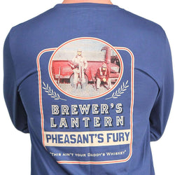 Men's Tee Shirts - Pheasant's Fury Long Sleeve Tee In Ole Blue By Brewer's Lantern