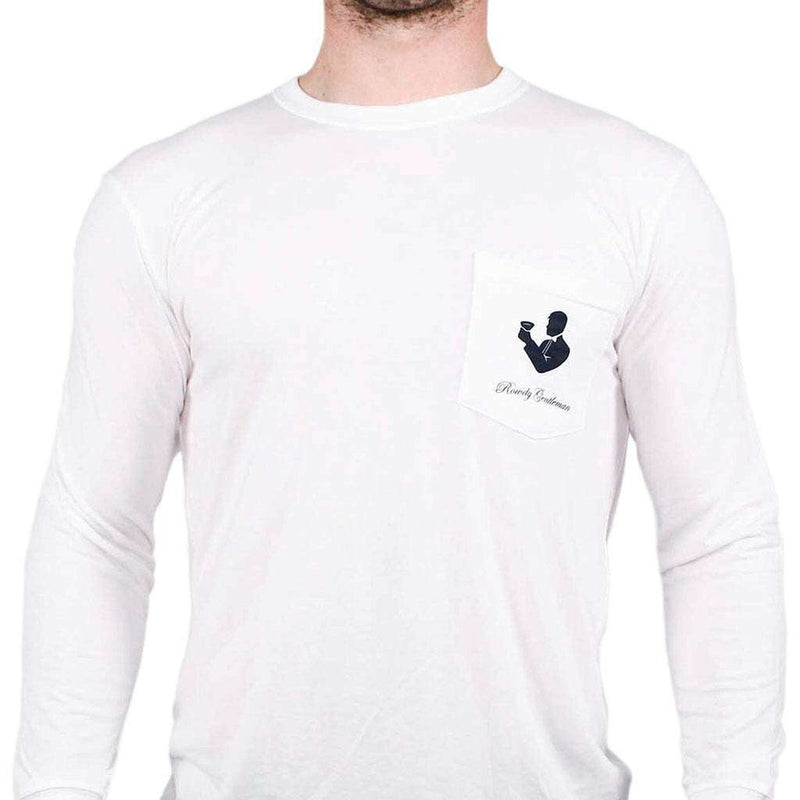 Men's Tee Shirts - Play On, Player Long Sleeve Pocket Tee In White By Rowdy Gentleman
