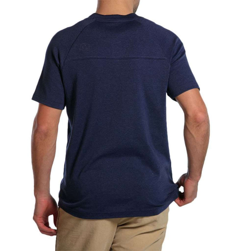 Puremeso Heathered Short Sleeve Henley in Navy by The Normal Brand - FINAL SALE