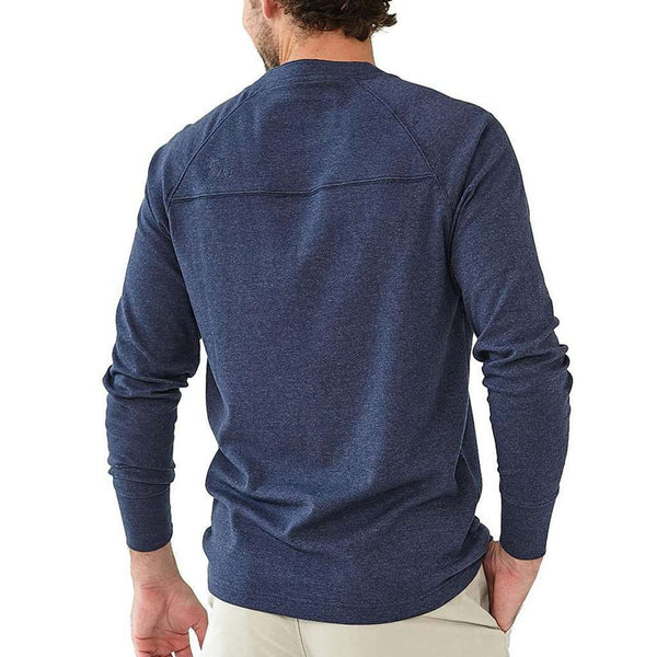 Puremeso Henley Long Sleeve Tee in Navy by The Normal Brand - FINAL SALE