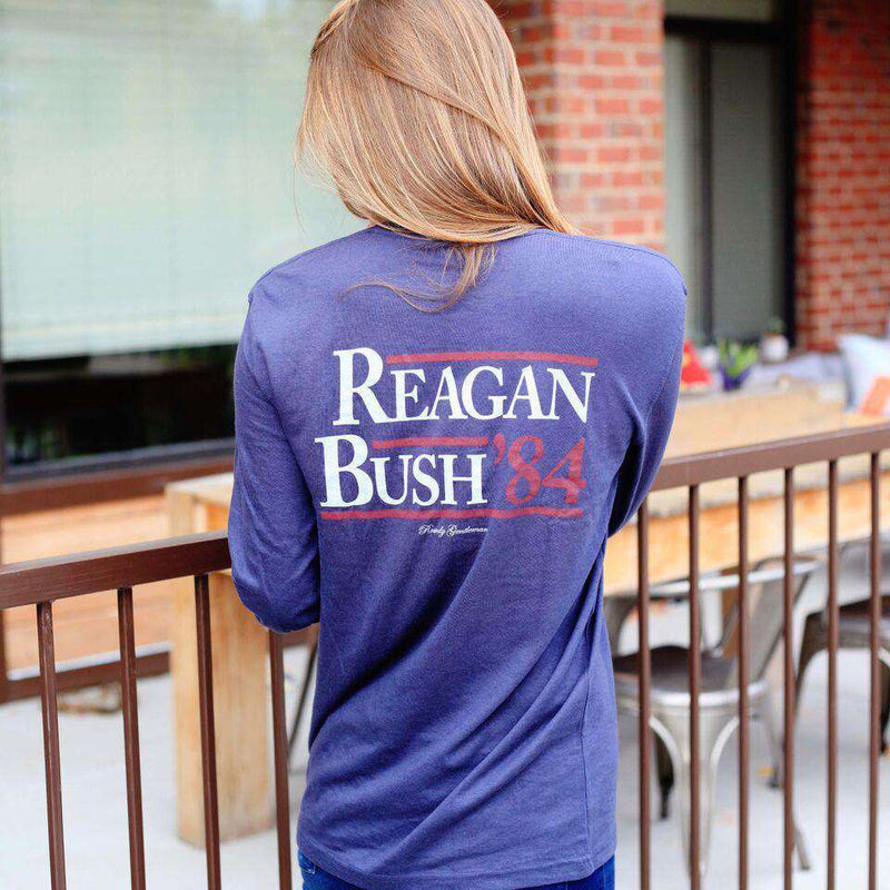 Men's Tee Shirts - Reagan Bush '84 Long Sleeve Pocket Tee In Navy By Rowdy Gentleman