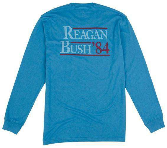 Men's Tee Shirts - Reagan Bush '84 Long Sleeve Tee In Surf Blue By Rowdy Gentleman