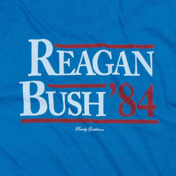 Men's Tee Shirts - Reagan Bush '84 Pocket Tee In Deep Water By Rowdy Gentleman