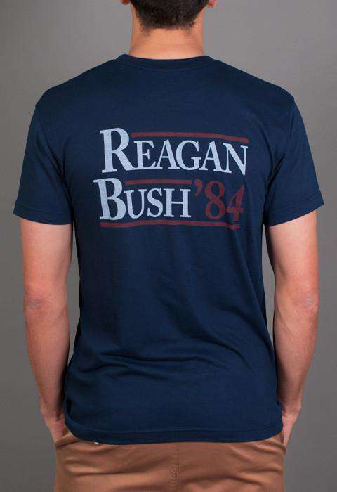 Men's Tee Shirts - Reagan Bush '84 Pocket Tee In Navy By Rowdy Gentleman - FINAL SALE