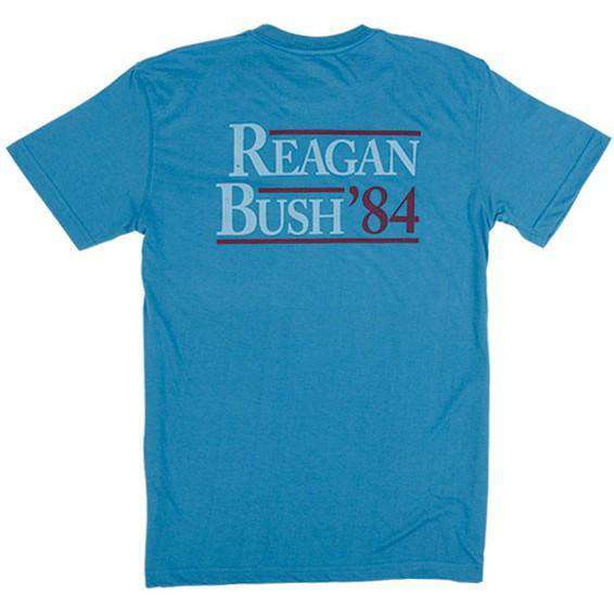 Men's Tee Shirts - Reagan Bush '84 Pocket Tee In Surf Blue By Rowdy Gentleman - FINAL SALE