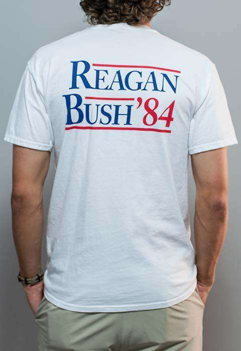 Men's Tee Shirts - Reagan Bush '84 Pocket Tee In White By Rowdy Gentleman - FINAL SALE