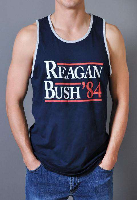 Men's Tee Shirts - Reagan Bush '84 Tank Top In Navy By Rowdy Gentleman - FINAL SALE