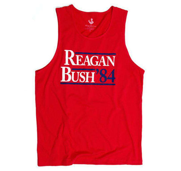 Men's Tee Shirts - Reagan Bush '84 Tank Top In Red By Rowdy Gentleman - FINAL SALE