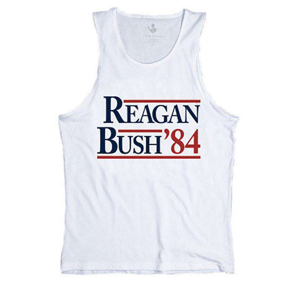 Men's Tee Shirts - Reagan Bush '84 Tank Top In White By Rowdy Gentleman - FINAL SALE