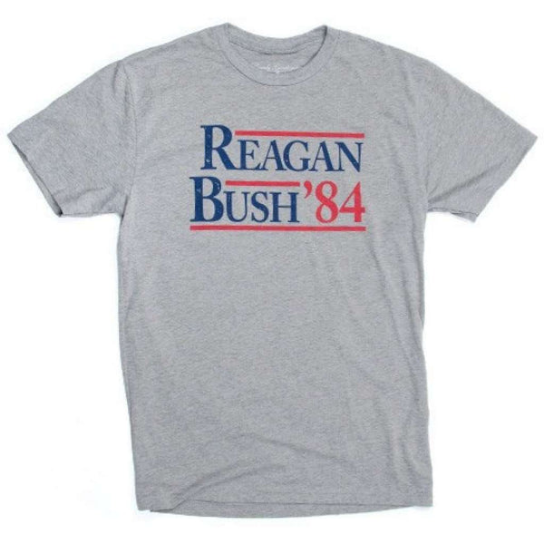Men's Tee Shirts - Reagan Bush '84 Vintage Tee In Dark Heather Grey By Rowdy Gentleman - FINAL SALE