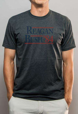 Men's Tee Shirts - Reagan Bush '84 Vintage Tee In Faded Grey By Rowdy Gentleman - FINAL SALE