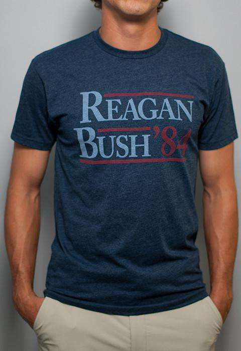 Men's Tee Shirts - Reagan Bush '84 Vintage Tee In Faded Navy By Rowdy Gentleman - FINAL SALE