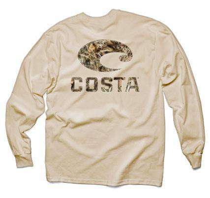 Men's Tee Shirts - Realtree Max-4 Camo Long Sleeve Logo Tee In Tan By Costa Del Mar