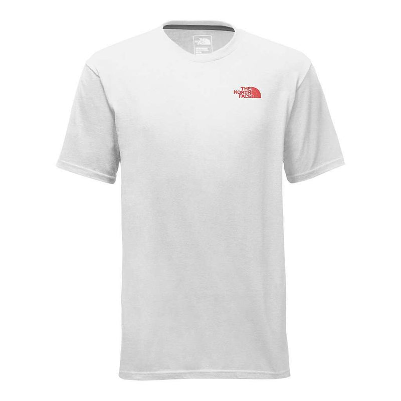 Red Box Tee in White and High Risk Red by The North Face