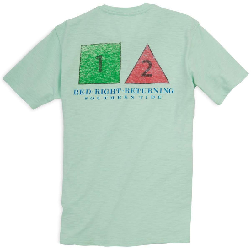 Men's Tee Shirts - Red Right Return Pocket Tee In Sea Foam Green By Southern Tide