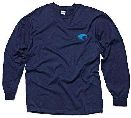 Retro Long Sleeve Logo Tee in Navy by Costa Del Mar