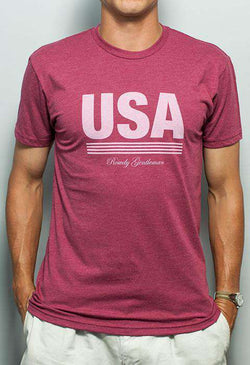 Men's Tee Shirts - Retro USA Tee In Faded Red By Rowdy Gentleman - FINAL SALE