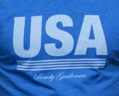 Men's Tee Shirts - Retro USA Tee In Royal Blue By Rowdy Gentleman - FINAL SALE