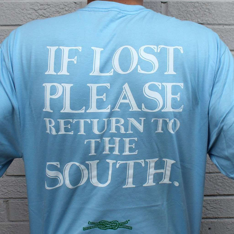Men's Tee Shirts - Return To The South Pocket Tee In Light Blue By Knot Clothing & Belt Co.