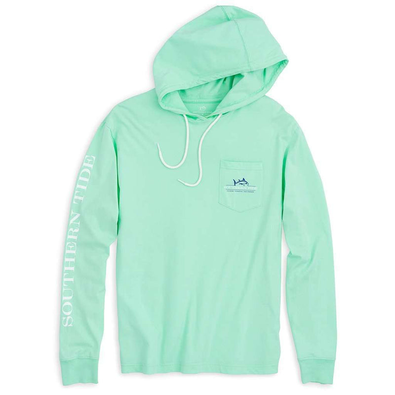 Rising Skipjack Long Sleeve Hoodie Tee Shirt in Offshore Green by Southern Tide