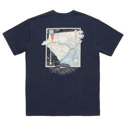 Men's Tee Shirts - River Route Collection - North Carolina & South Carolina Tee In Navy By Southern Marsh
