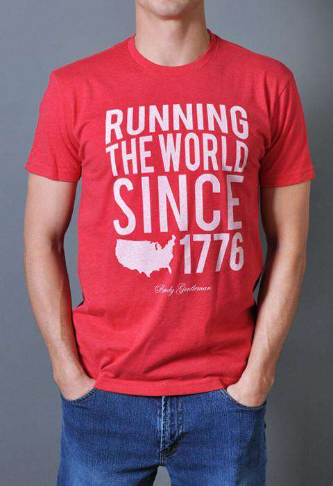 Men's Tee Shirts - Running The World Since 1776 Vintage Tee Shirt In Red By Rowdy Gentleman - FINAL SALE