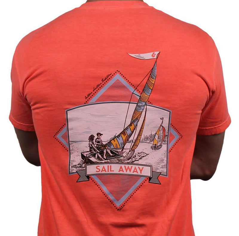 Men's Tee Shirts - Sail Away Tee In Coral Red By Fripp & Folly