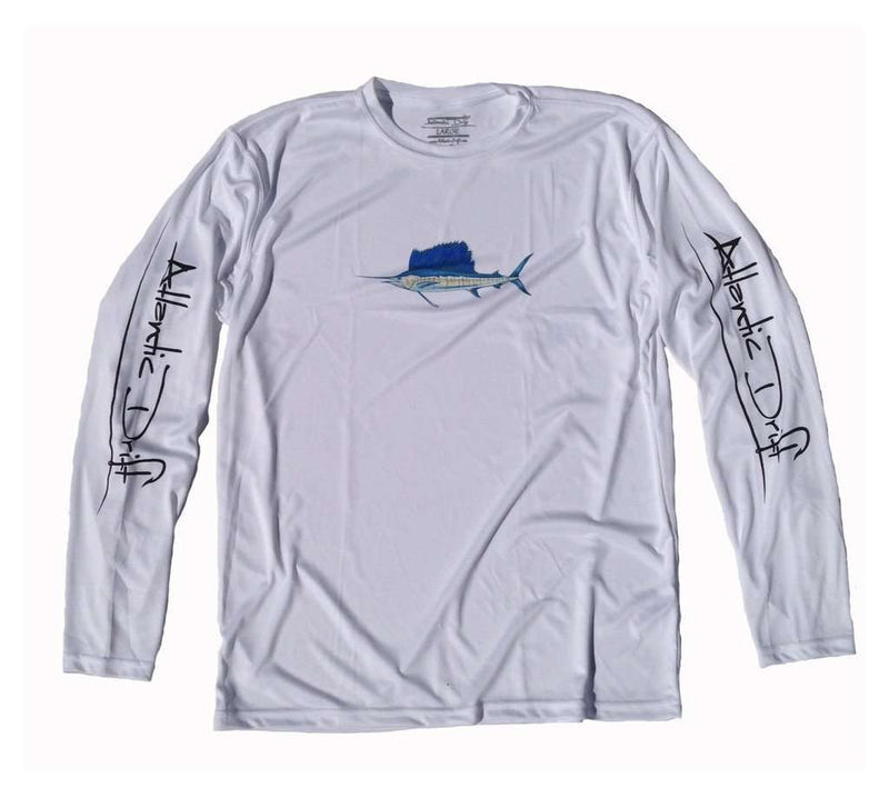 Men's Tee Shirts - Sailfish Performance Long Sleeve Shirt In White By Atlantic Drift - FINAL SALE
