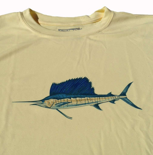 Men's Tee Shirts - Sailfish Performance Long Sleeve Shirt In Yellow By Atlantic Drift - FINAL SALE