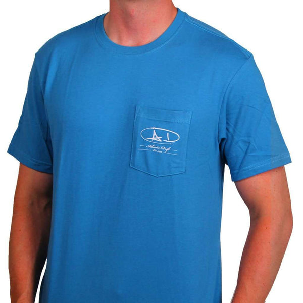 Men's Tee Shirts - Sailfish Shield Pocket Tee In Aqua By Atlantic Drift - FINAL SALE