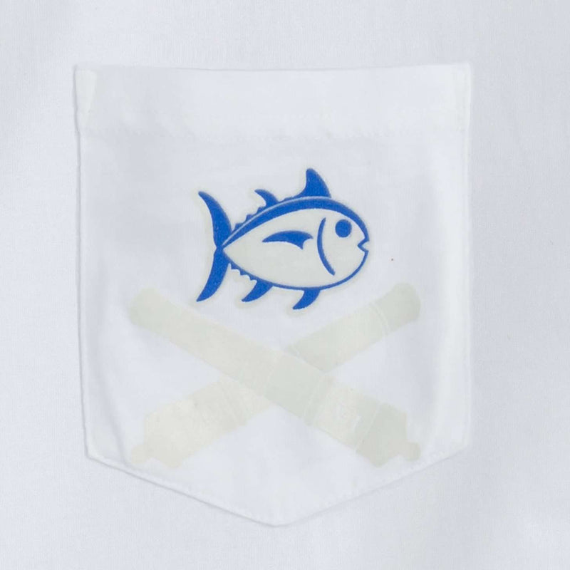 Sailor by Day, Bandit by Night Glow in the Dark Tee Shirt in White by Southern Tide