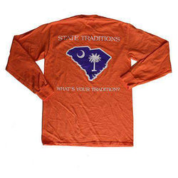 Men's Tee Shirts - SC Clemson Gameday Long Sleeve T-Shirt In Orange By State Traditions